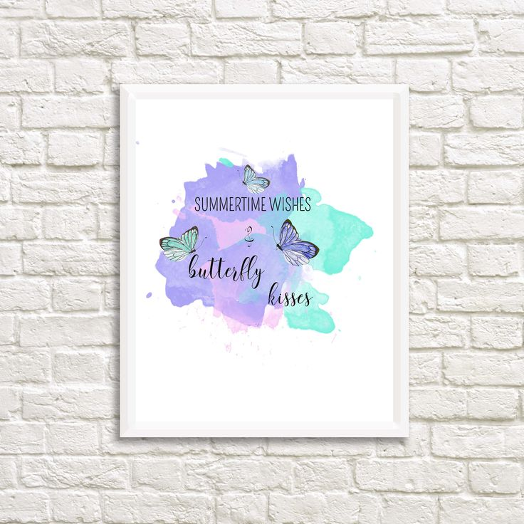 Summertime Wishes & Butterfly Kisses Watercolor Print by northofdreams on Etsy
