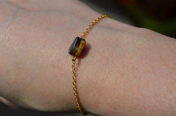 Tigers Eye Bracelet Dainty Gold Chain Bracelet Birthstone Jewelry Crystal…