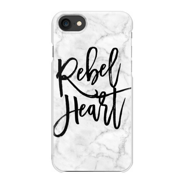 Marble - Rebel Heart Quote - iPhone 7 Case And Cover ($35) ❤ liked on Polyvore featuring accessories, tech accessories, phone cases, phones, electronics, technology, iphone case, apple iphone case, iphone cover case and iphone cases