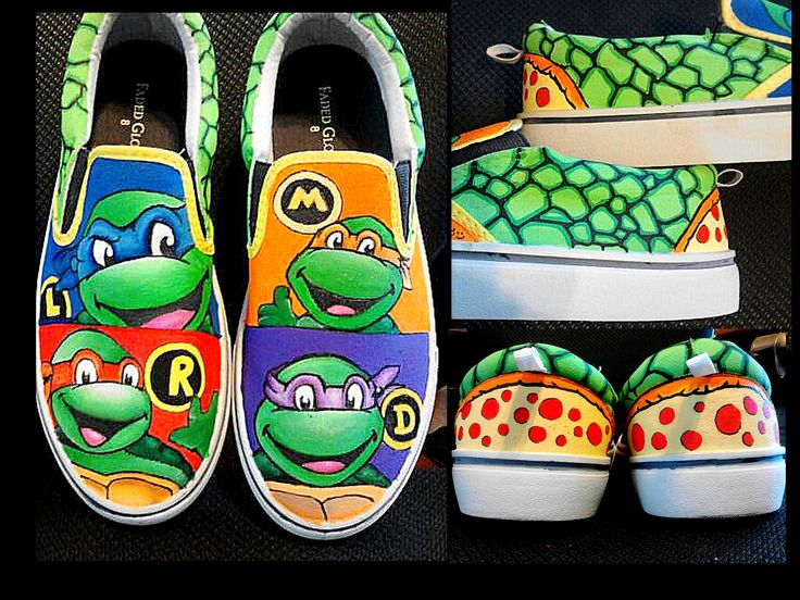 "Custom Teenage Mutant Ninja Turtle shoes I hand painted for friend in central florida. I've made many custom TMNT shoes and these were one of my favs. Check 'em out! DIY. Order your own at ""Laura's Custom Kicks on Fb or ""l_tenneson@hotmail.com"""