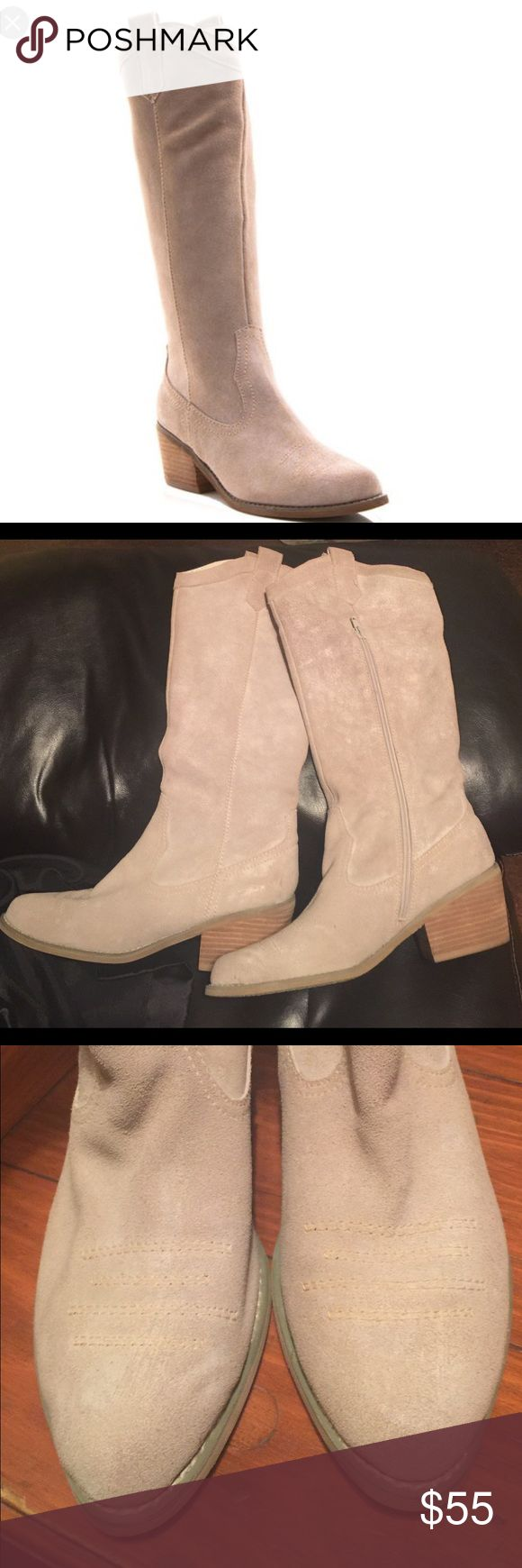 "Knee High Boots- NEW Envy brand ""Ride 'Em"" light tan/natural western style to the knee boots! Perfect neutral boot that can go with anything! Never worn. Will include original boot bag that came with the boots! envy Shoes Over the Knee Boots"