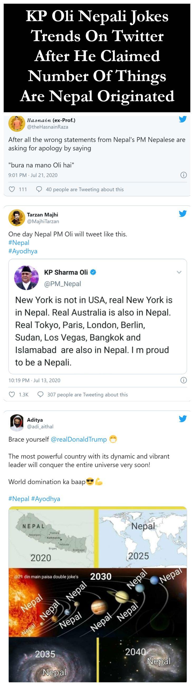 Kp Oli Nepali Jokes Trends On Twitter After He Claimed Number Of Things Are Nepal Originated Twitter Trending Jokes Funny Memes