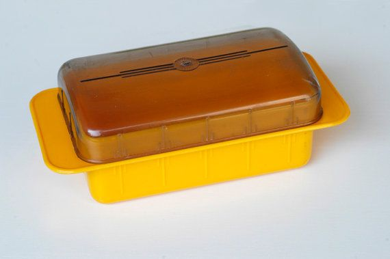 butter dish with lid / retro yellow plastic fridge by BOULOTDODO