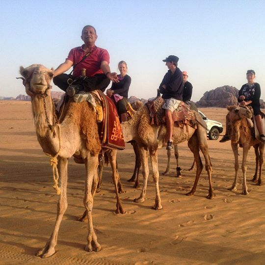 Our #TravelAdventurer doing his signature pose on the camel in  #WadiRum! #GrabYourDream #Jordan