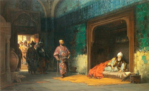 """"""" Sultan Bayezid Imprisoned by Timur  painting by Stanisław Chlebowski (1835–1884)  Bayezid I was sultan of the Ottoman Empire; he was defeated and captured by Timur's army at the Battle of Ankara on July 20th, 1402. He died in captivity.  """""""