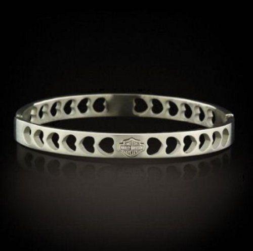 Harley® Stamper® Women's Stainless Steel Heart Bangle Bracelet. Bar & Shield http://bikeraa.com/harley-stamper-womens-stainless-steel-heart-bangle-bracelet-bar-shield-stb1590/