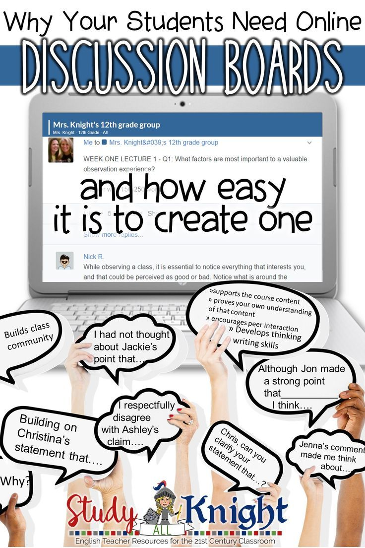 Why Your Students Need Online Discussion Boards and How to Create One | Teachers can use learning management systems (Google Classroom, Blackboard, Edmodo, Canvas) to create an online discussion board for their students. Secondary classroom teachers should include online discussion boards as a part of the curriculum. Provide opportunities to learn a twenty-first century skill for higher education. All subjects, grades 6, 7, 8, 9, 10, 11, 12.