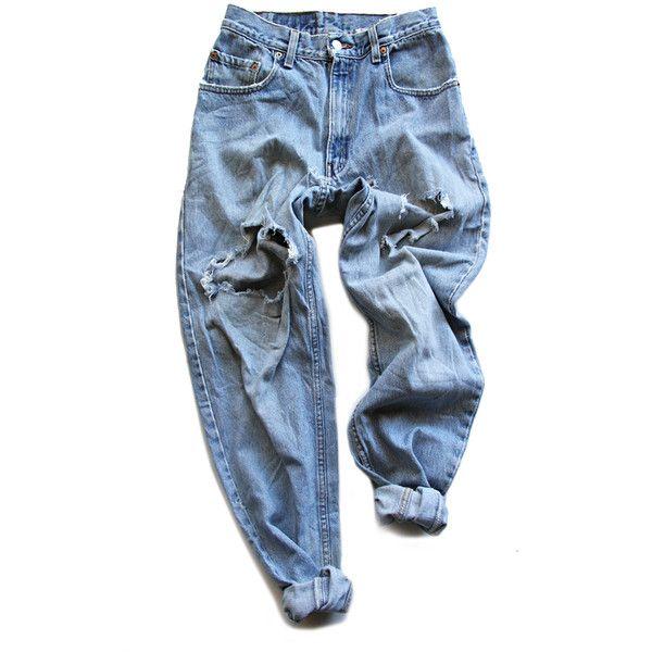 Archival Levi's Destroyed Boyfriend Pants FRUITION LAS VEGAS ❤ liked on Polyvore featuring pants, bottoms, jeans, trousers, boyfriend pants, torn pants, ripped pants, levi pants and blue pants