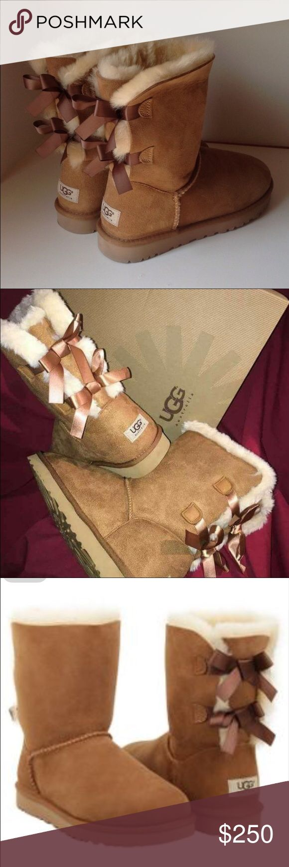 UGG Australia Bailey Bow II Chestnut WORN ONCE Bailey Bow Version II in Chestnut. size 6 in women's. Bough from UGG shop. Waterproof. UGG Shoes Winter & Rain Boots