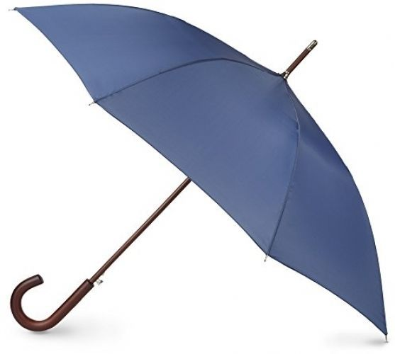 Totes Auto Open Wooden Stick Umbrella 36 Inch Fold Polyester Steele Blue One #Totes