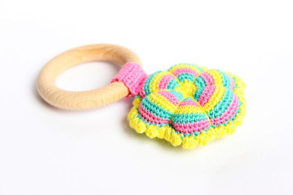 Eco-friendly Wooden Teething Ring with flower, Organic wood teethers, Crochet teethers