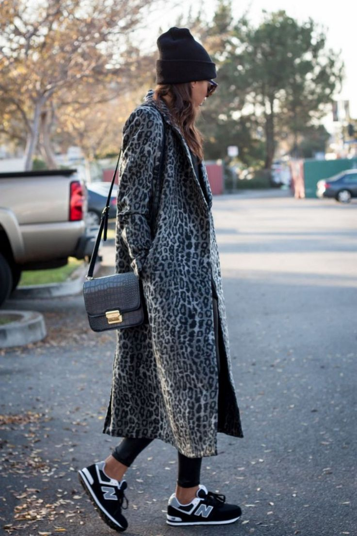 Leopard Print Coat And New Balance Sneakers Via Scent Of Obsession