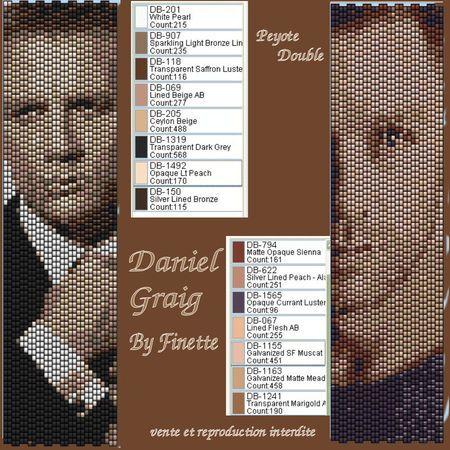 Daniel Craig aka James Bond 007 bead pattern with colours listed, peyote