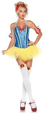 Sultry Sexy Snow White Costume $47.02 http://www.costumeshopper.com/prods/la85026-snow-white.html #yellow #red #blue #corset #tutu #bow #snowwhite #sexy #costume
