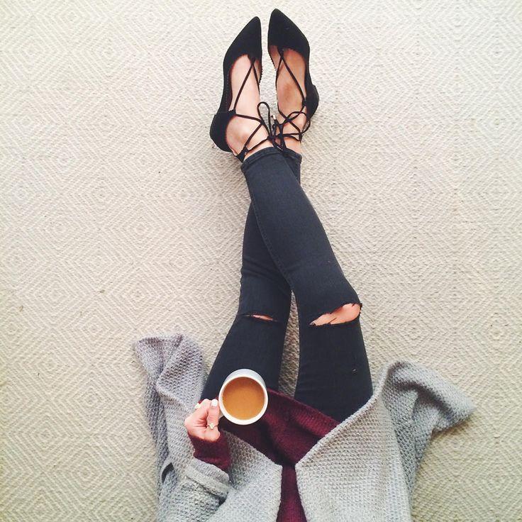 coffee & lace up flats via @livvylandblog / follow livvylandblog on Instagram