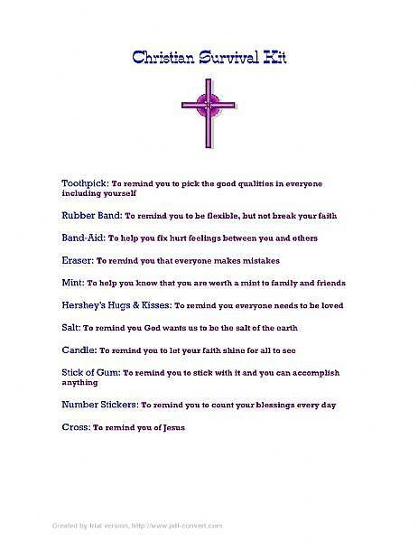 How to Make a Christian Survival Kit   God in me makes me ...