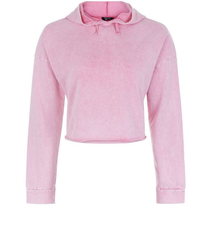 Teens Pink Acid Wash Cropped Hoodie | New Look
