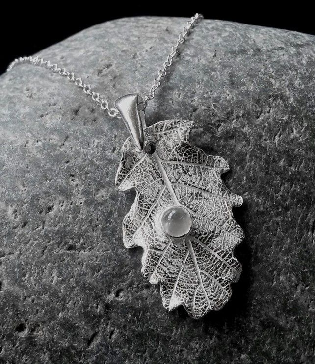 Fine Silver  Oak leaf with a moonstone  £32.00
