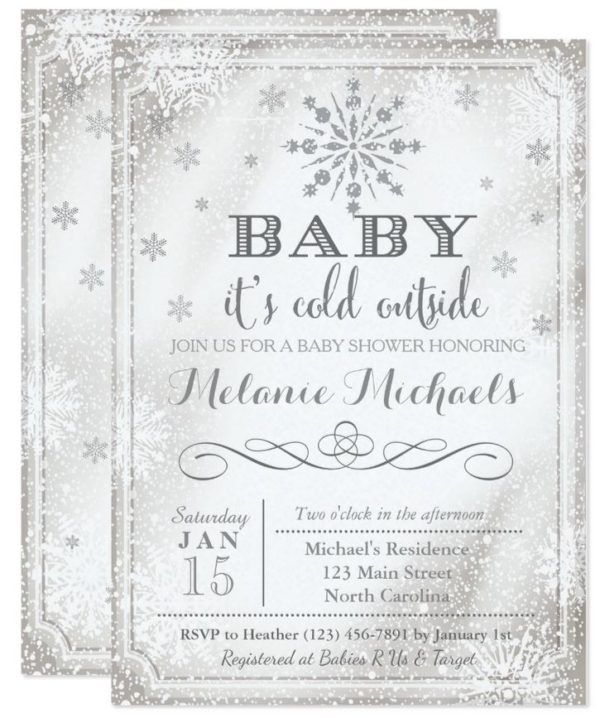 Baby Itu0027s Cold Outside Snowflake Baby Shower Invite