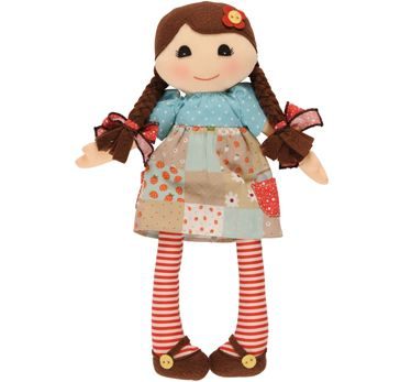 Adorable Ruby rag doll by Tiger Tribe! Hand-crafted rag doll made from lovely soft cottons with gorgeous little dress and stockings