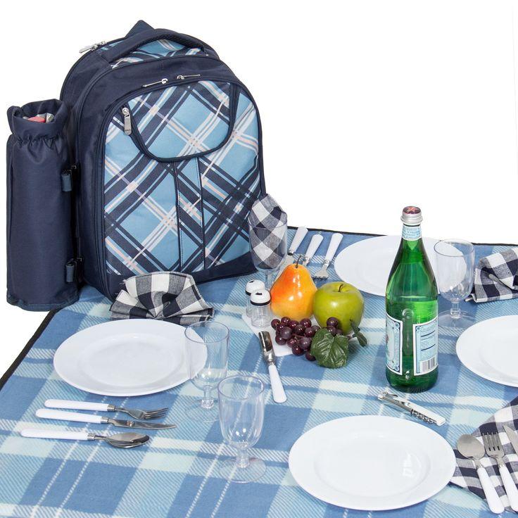 2 Person Blue Picnic Backpack Hamper with Cooler Bag includes Tableware & Fleece Blanket