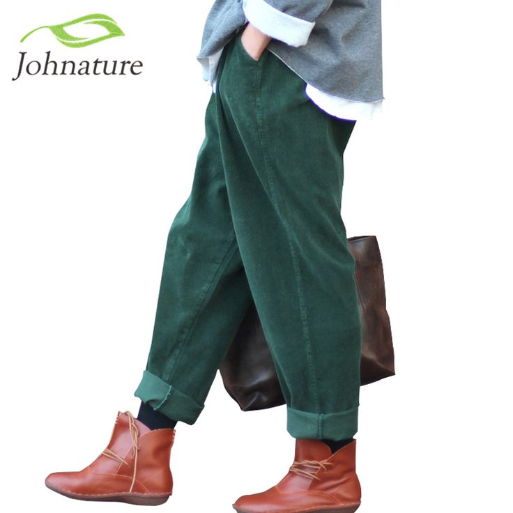 Johnature 2017 Women Corduroy Pants Vintage Spring Autumn Casual Thicken Warm Elastic Waist Loose Cotton Pleated Trousers-in Pants & Capris from Women's Clothing & Accessories on Aliexpress.com | Alibaba Group