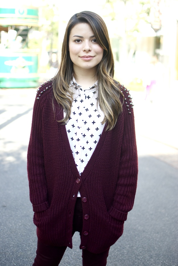 Studded Cardigan.-awkward miranda cosgrove is awkward but i dont care