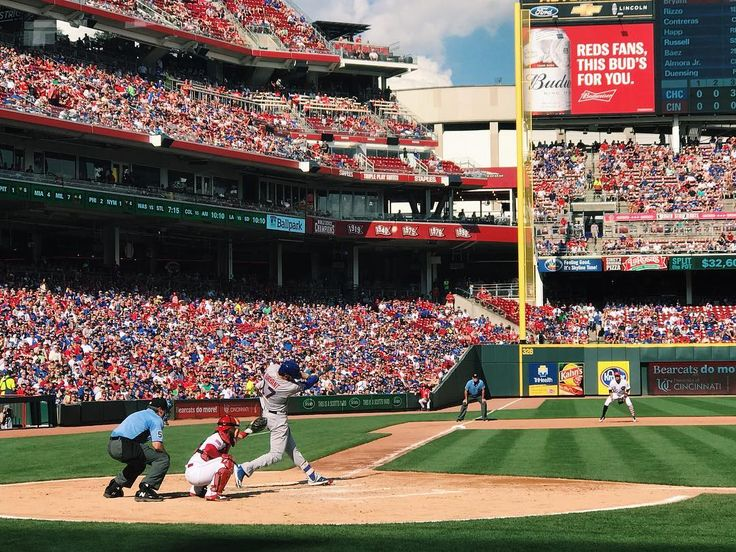 What a game yesterday! The #Cubs and #Reds battled back and forth. Final score: Reds 5. Cubs 3. @kris_bryant17 seen here went 1 for 4. We're back at it today. Stay tuned.