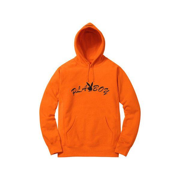 Supreme Supreme /Playboy Hooded Sweatshirt ($158) ❤ liked on Polyvore featuring tops, hoodies, orange hoodies, hoodie top, hooded sweatshirt, sweatshirt hoodies and orange hooded sweatshirt