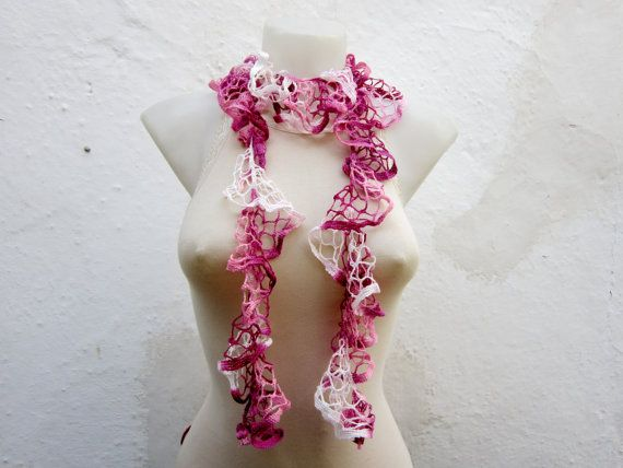 Handmade Crochet Pink White  Scarf  Fall Fashion by scarfnurlu