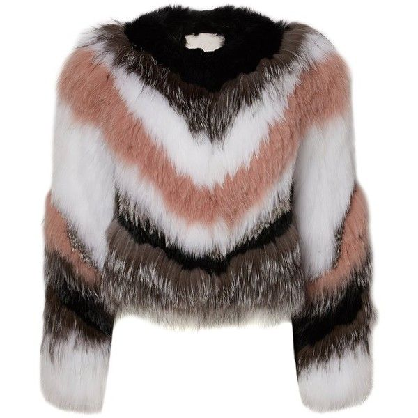 Apollo Jacket (54 285 UAH) ❤ liked on Polyvore featuring outerwear, jackets, colorful jackets, fox fur jacket, multi coloured jacket, long sleeve jacket and brown jacket