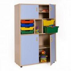 Mueble escolar medio armario 4 puertas cubetero