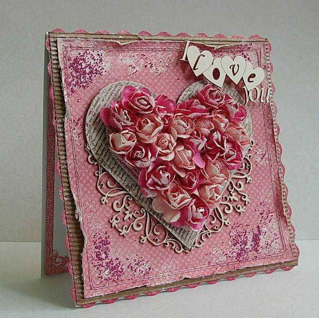 Днем рождения, сердце открытка скрапбукинг