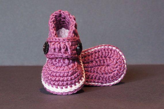 Crochet Baby Shoes, Crochet Baby Booties, Crochet Baby Girl Shoes, Purple Baby Shoes, Pink Baby Shoes, Purple Baby Booties, Purple / Pink