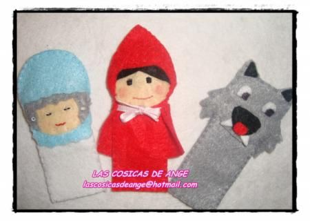 títeres dedo de fieltro caperucita roja, el lobo y la abuelita títeres dedo de fieltro caperucita roja fieltro cosido a mano
