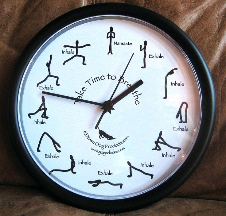 Take Time to Breathe Yoga Clock Black $30 @ www.downdogboutique.com #YogaHome #Yoga