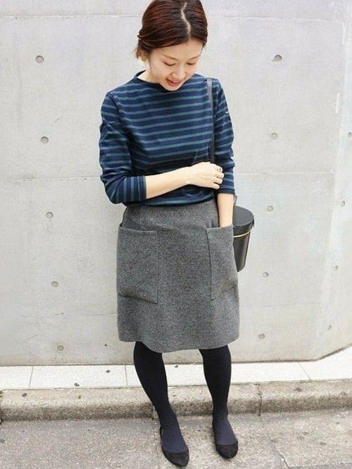 人気のソフトモッサー台形スカート。   新色のグレーは今季らしいカラースタイリングに使える万能カラー