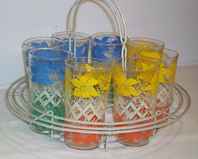 Vintage tumblers in carrier. I'm a sucker for pretty glasses!