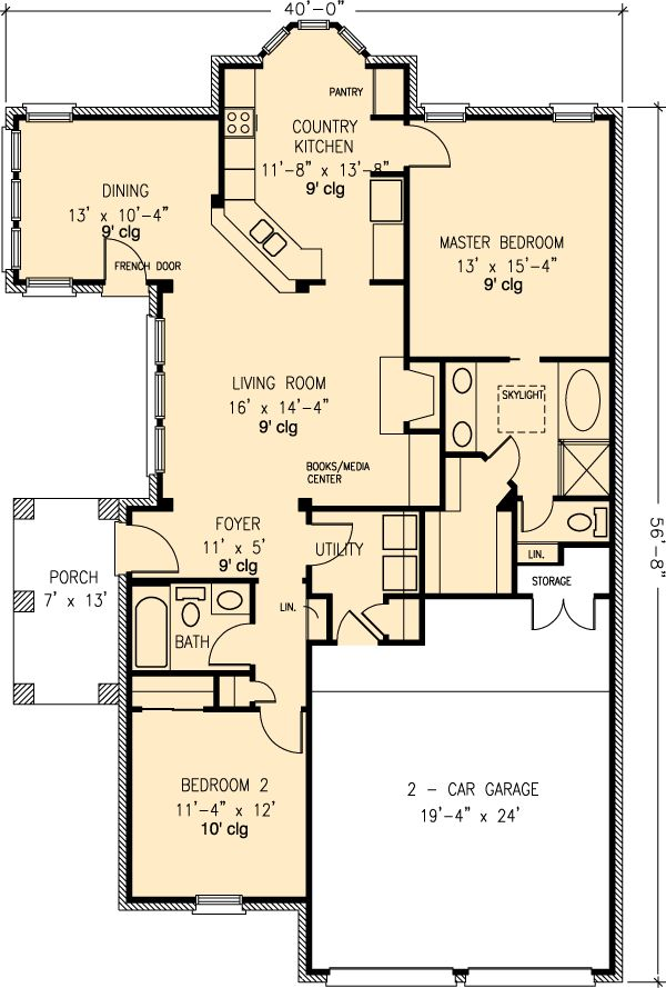 First floor plan of country european house plan 90312 Slab home floor plans