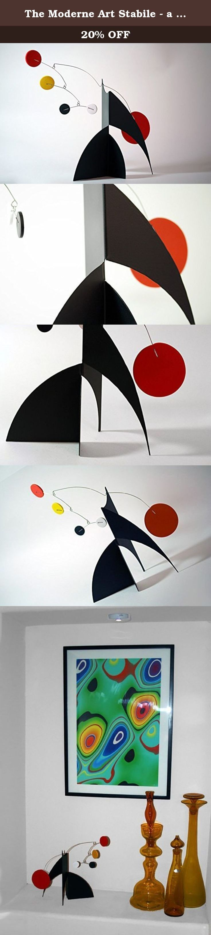 "The Moderne Art Stabile - a mobile you display on desktop, coffee table, or shelf - Inspired by Alexander Calder - Eames Midcentury Modern Style. WHAT IS A STABILE? A stabile is a free-standing kinetic art mobile that sits on a flat surface, so you do not need to hang it, you simply set it and enjoy. The word ""stabile"" was coined by the Dadaist Jean (Hans) Arp in 1931 for Alexander Calder, the founder of art mobiles and stabiles. You can place it on any desktop, tabletop, counter, or…"