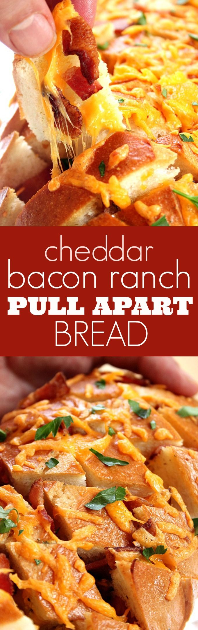 Cheddar Bacon Ranch Pull Apart Bread recipe - crispy top with gooey cheese, crunchy bacon and buttery Ranch in every bite! This pull apart bread is THE appetizer to make!
