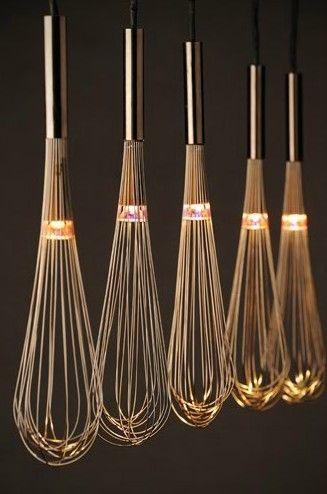repurposed whisks as light fittings