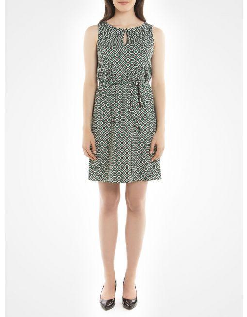 Jacob mosaic-print green sleeveless dress