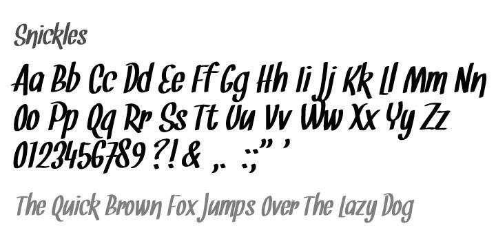 Snickles font by Tup Wanders - FontSpace