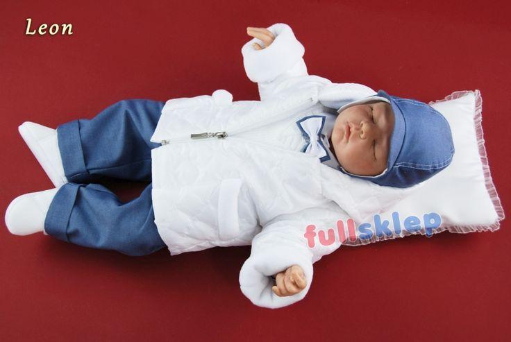 Niemowlęce w niebieskim kolorze z tkaniny garniturowej ubranko do chrztu
