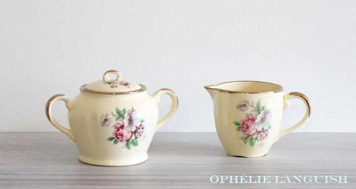 Rare Shabby Chic Vintage Pale Yellow Wm Hulme Royal Braemar Fine China Sugar Bowl & Creamer Set with Rose Floral Motif - Made in England available at Ophélie Languish.   home, living, kitchen, dining, serveware, tea set, shabby chic, cottage chic, cream, pale yellow, floral, pink rose, blue flowers, royal braemar, set, wm hulme, hulme, william hulme, england, fine china, replacement china, rare, creamer, sugar bowl