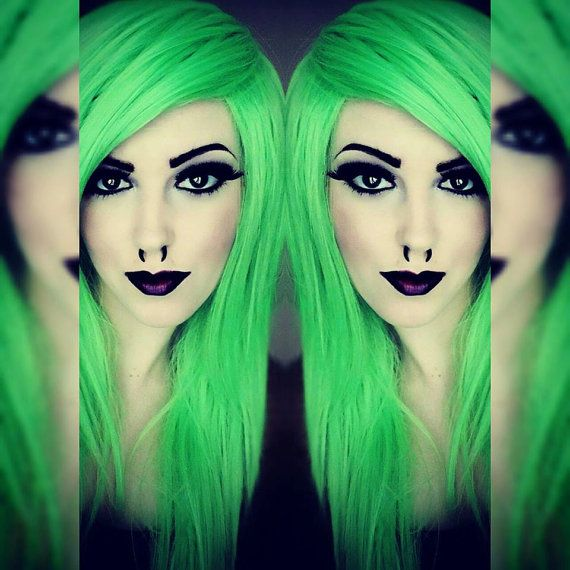 Happy Holidays SALE // Neon Lime Green / Long Green wig, Bright Green wig, Emo Scene wig, Straight Cosplay Hair, Halloween wig, Dress Up Cos