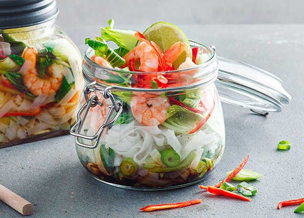 This jar is the perfect take-to-work lunch. Prep it the night before and you're good to go!