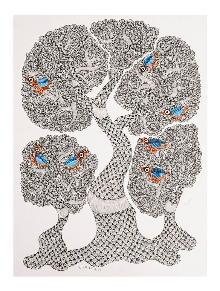 Buy Multi Color Tree Gondh Painting By Subhash Vyam 15in x 11in Paper Acrylic Permanent Ink Art Decorative Folk of Good Fortune Tribal Gond from Madhya Pradesh Online at Jaypore.com