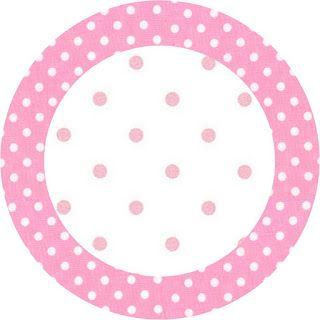 LARGE PRINTABLE SET- Rosa e Branco com Bolinhas – Kit Completo com molduras para convites, rótulos para guloseimas, lembrancinhas e imagens! | Fazendo a Nossa Fe...